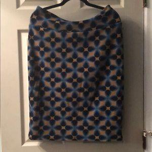 LuLaRoe Cassie Skirt - Taupe & Blues